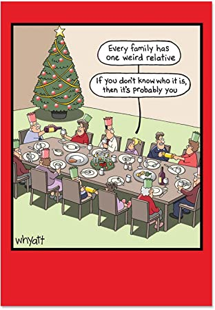Christmas Humor Images.Cab1703 Weird Relative Christmas Humor Card 12 Pack