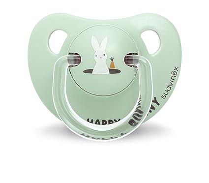 Suavinex 303259 - Chupete anatómico silicona 6-18 meses, conejito, color verde