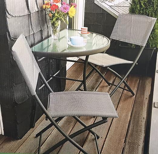 Balcón Grupo Annette mesa + 2 sillas plegables Balcón Mesa Silla ...