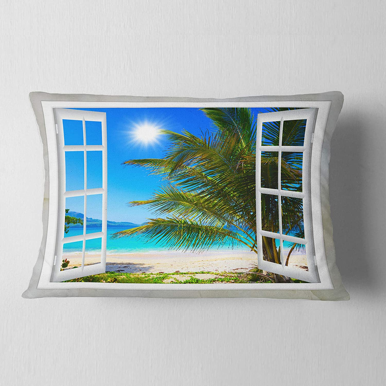 Designart CU11433-12-20 Window Open to Beach with Palm' Seashore Lumbar Cushion Cover for Living Room, Sofa Throw Pillow 12 in. x 20 in. in, Insert Printed On Both Side