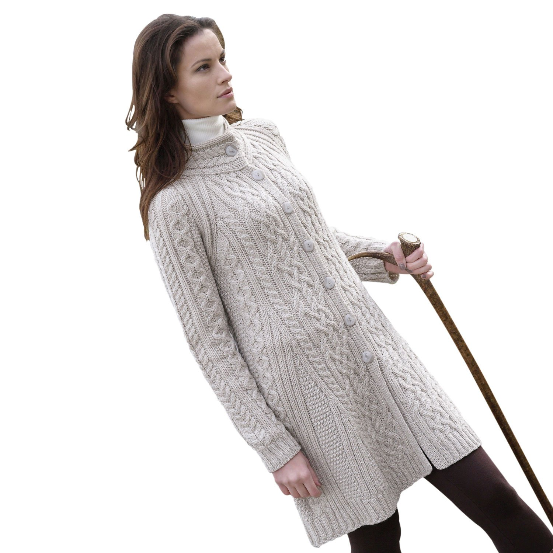100% Merino Wool Flared Coat, Parsnip, Small
