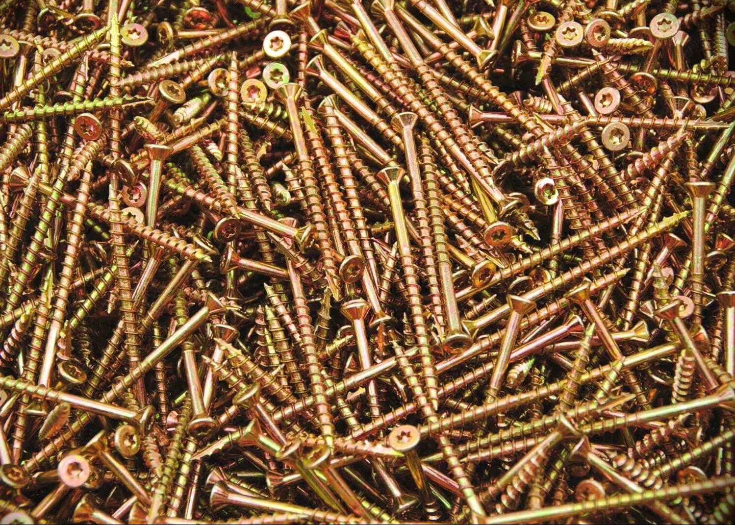 Torx T25 Star Flat Head 9 x 2-1//2 Yellow Zinc Type 17 Wood Screw BULK 2500