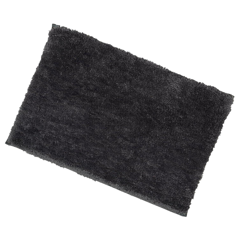 Black Soft Tufted Microfibre Bathroom Shower Bath Mat Rug Non-Slip Back 40x60cm XSS