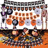 Halloween Party Supplies Cute Fun Party Favors Decoration All-in-One Pack Kids Theme Party Include Party Blowers, Eye Patch, Cardboard Hat, Balloon, Table Cloth, Banners Hanging Skeleton