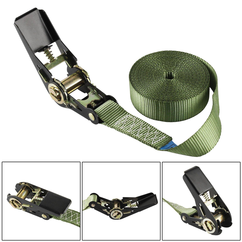 Forever Speed 4 x Correa de amarre cintur/ón de amarre trinquete correa con tensor 6m x 25mm 0.8T CE EN12195 Militar Verde