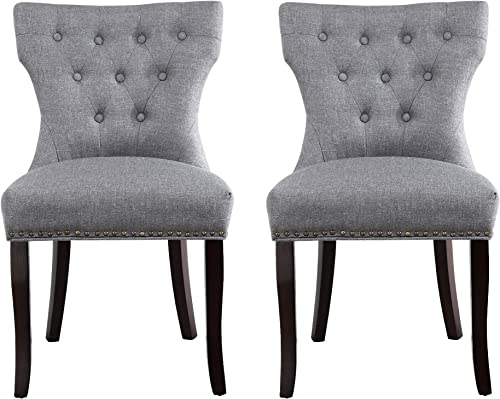 Set of 2 Dining Chairs Accent Chairs of Soft Fabric