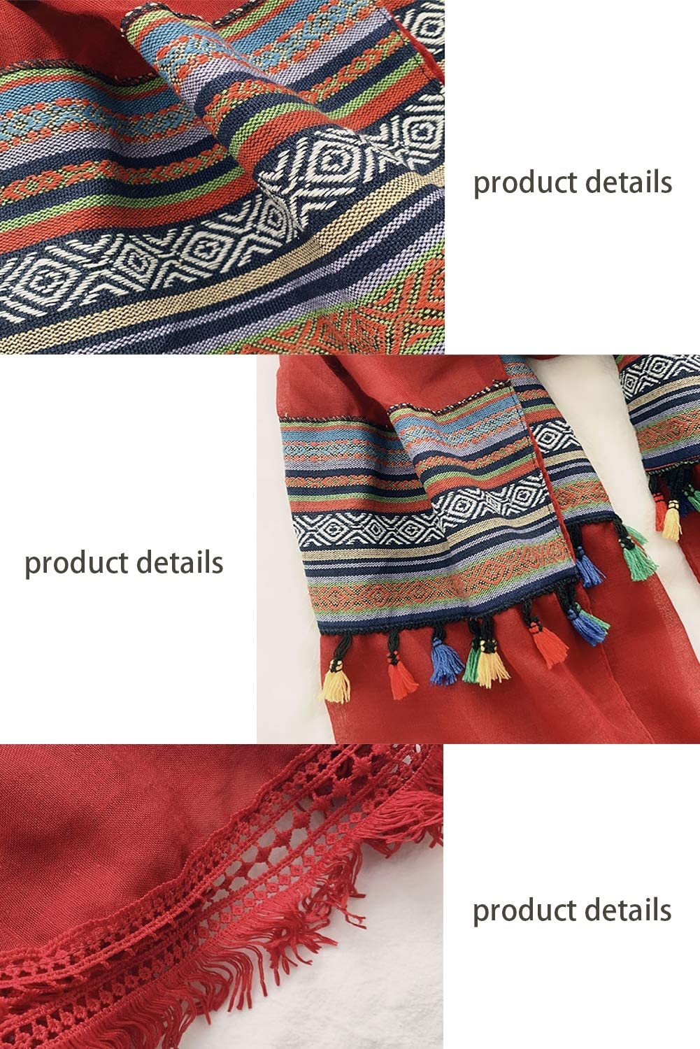 ClothHouse Womens Fashion Scarves Jewelry Bohemian Lightweight Embroidery Vintage Travel Oversized Shawl,Red90*200cm