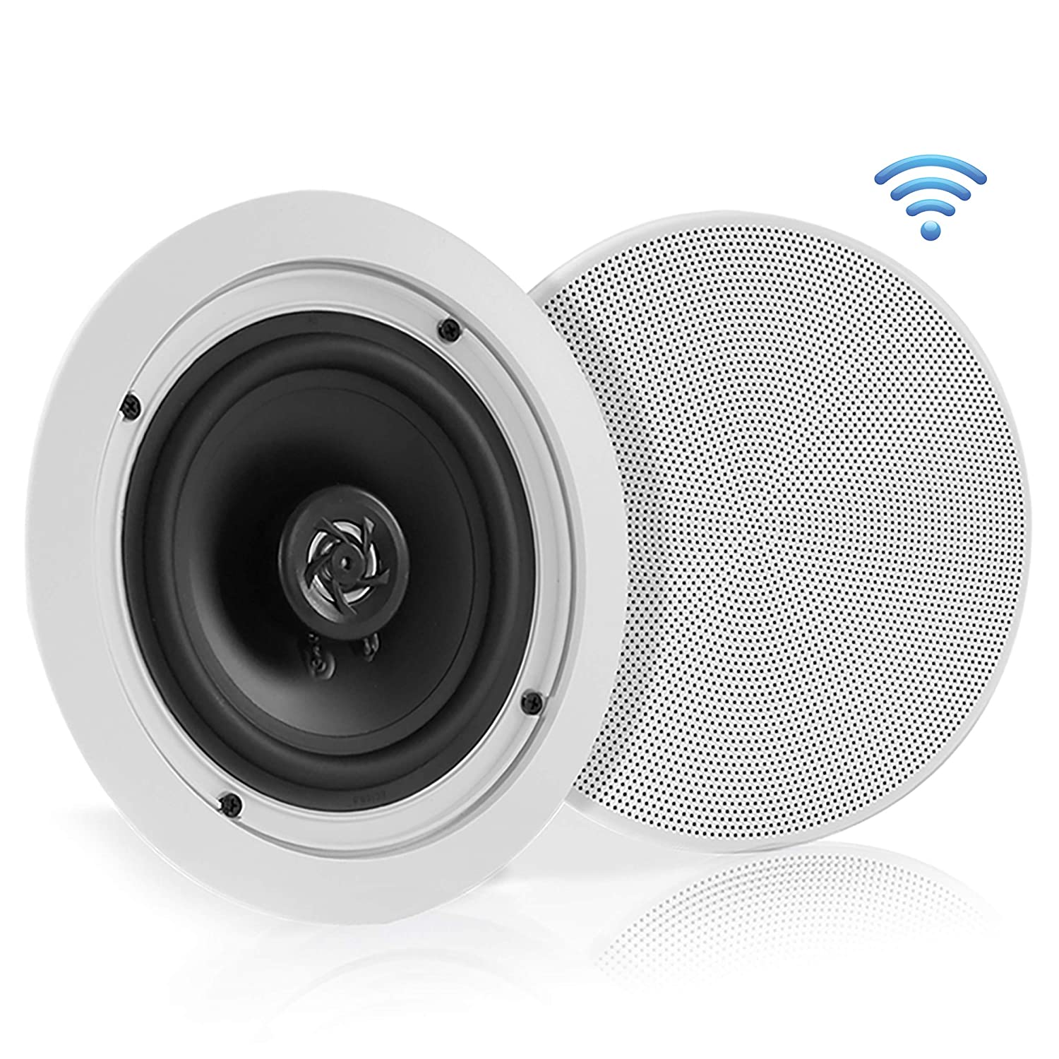 "Pyle 5.25"" Pair Bluetooth Flush Mount In-wall In-ceiling 2-Way Speaker System Quick Connections Changeable Round/Square Grill Polypropylene Cone & Polymer Tweeter Stereo Sound 150 Watt (PDICBT552RD)"