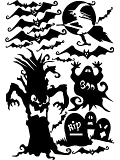 halloween window cling set of bats spooky tree tombstones and more - Halloween Window Clings
