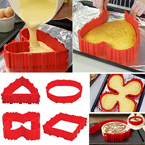 Antiadherente 4pcs silicona Cake Mold Cake Pan Magic Bake serpiente DIY molde de horno para herramientas