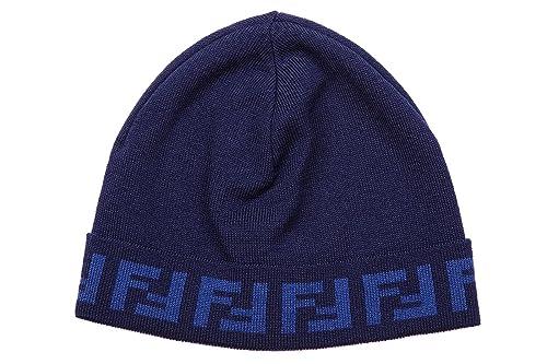big sale 1b3d6 47f2b Fendi cuffia berretto uomo in lana originale zucca blu ...
