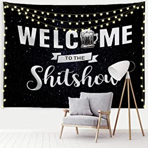 """Baccessor Welcome to The Shitshow Tapestry Boutique Funny Tapestry Wall Hanging Party College Dorm Apartment Bedroom Decor Nails Included (60"""" W x 40"""" H, Starry Sky Beer)"""