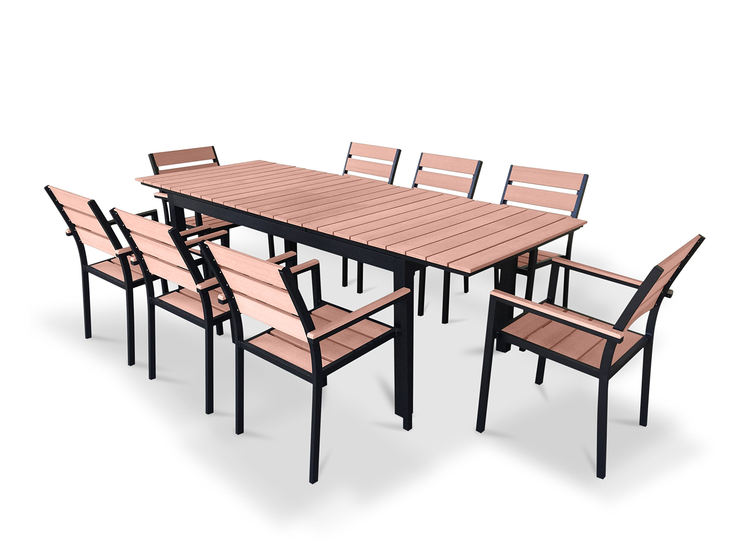 "UrbanFurnishing.net - 9 Piece Eco-Wood Extendable Outdoor Patio Dining Set - Sleek Ultra Modern Design with an Ingenius Hidden Leaf Extension Set includes 1 Extendable Table (70.8"" to 94.5"") and 8 Chairs (Stackable) Made from all-weather Eco-Wood Slats for table top and seating with Durable and Strong Powdercoated Aluminum Frame - patio-furniture, dining-sets-patio-funiture, patio - 811rl59HikL -"