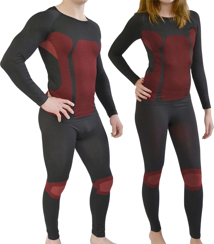 Sport Funktionswäsche Garnitur (Hose + Hemd) für Damen und Herren - Ski Unterwäsche mit Elasthan von normani® Farbe Schwarz/Rot Größe L/XL