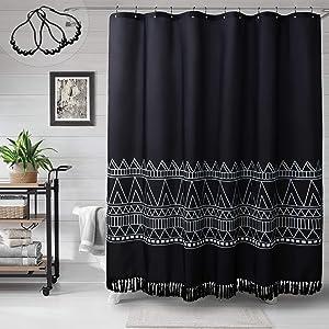 MitoVilla Black Boho Shower Curtain with Tassel, Heavy Duty Bohemian Black and White Geometric Chevron Stripe Bathroom Curtain, Weighted Tribal Chic Print for Modern Bathroom Decor, 108