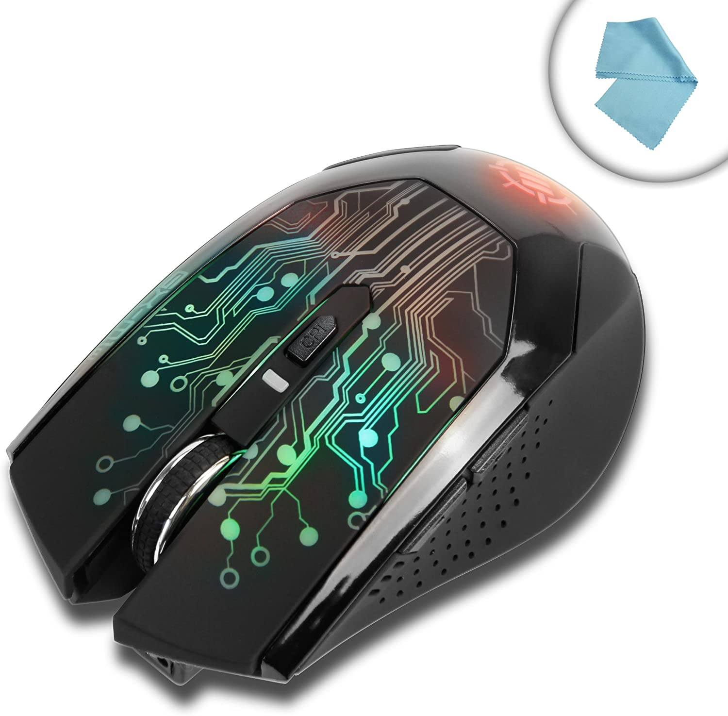 ENHANCE GX-M1w Ergonomic Wireless Gaming Mouse with Adjustable DPI Settings & 7 Color Changing LED Lights - Perfect for Laptop & Desktop ComputersBonus Cleaning Cloth