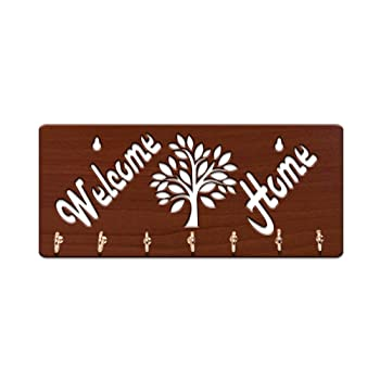 Sehaz Artworks Brown Wooden Key Holder (7 Hooks)
