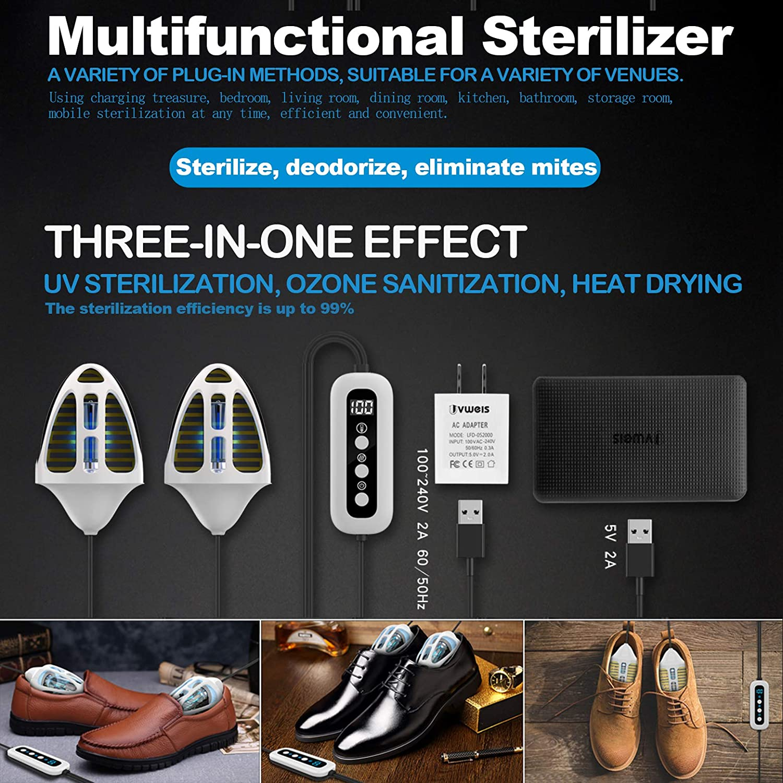 LanXi UV-Lampen Ultraviolett UV Schuhe Sanitizer Trockner//Desodorierer//Stiefel Sterilisator//T/ötet Zehennagelpilz UV-Licht zur Desinfektion