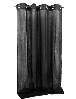 atenas home textile Pareja de Visillos de salón con Trabillas, 140 x 265 cm, Color Negro/Plata: Amazon.es: Hogar