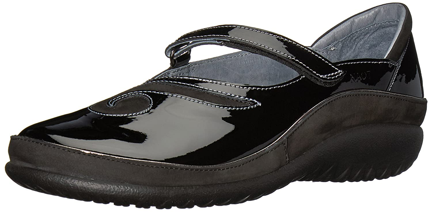 NAOT Women's Matai Mary Jane Flat B01N5RNY8I 42 Medium EU (11 US)|Black Patent Leather/Black Velvet Nubuck