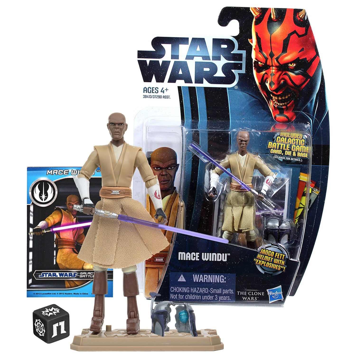 STAR WARS YEAR 2012 The Clone Wars Series 4 Inch Tall Figure – Mace Windu cw8 withライトセーバー、Jango Fett 's Brokenヘルメット、カード、Die and Display Base B079PNFLZD