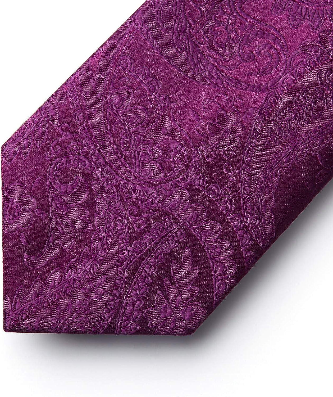 Hisdern Hommes solide couleur floral cravate jacquard tisse mouchoir elegant cravate /& Pocket Square Set-plusieurs couleurs