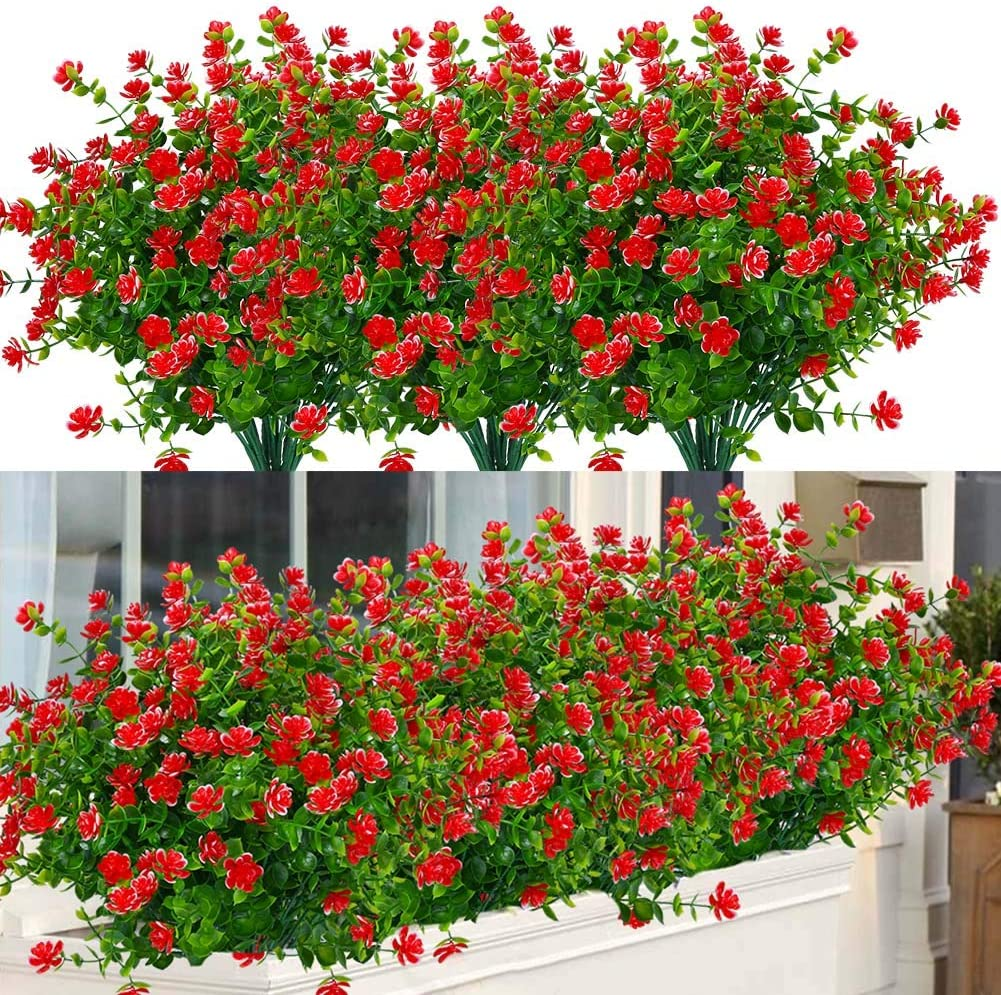 ArtBloom 24 Bundles Outdoor Artificial Flowers UV Resistant Fake Boxwood Plants, Faux Greenery for Indoor Outside Hanging Plants Garden Porch Window Box Home Wedding Farmhouse Décor (Red)