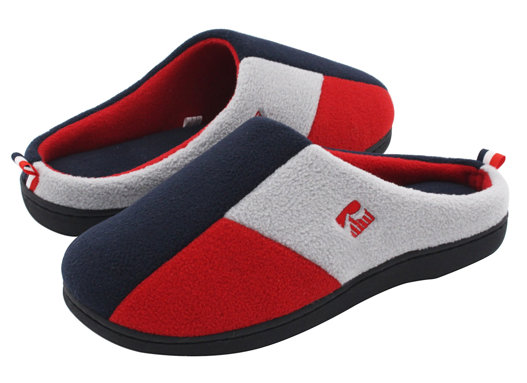 RockDove Men's Tri-Color Memory Foam Slippers Winter Warm Blue/Red/Grey Color Blocking Slip On Indoor Clogs for Home & Lounging (9-10 D(M) US)