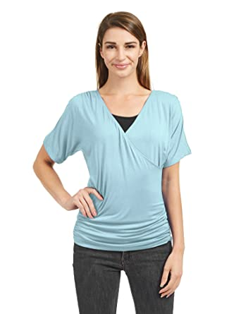 0be7122334d07d Lock and Love LL WT1451 Womens V Neck Short Sleeve Wrap Front Drape Dolman  Top S
