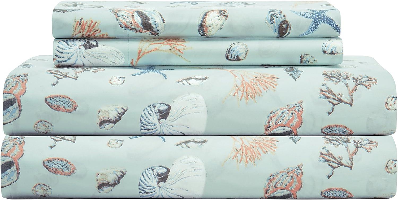 Elite Home 90 GSM Microfiber Coastal Beach-Themed Printed Sheets & Pillowcase Sets, Full, Oceanside Sand