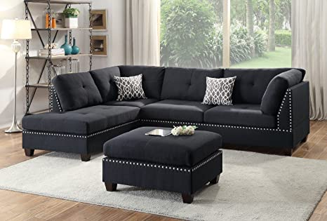 3Pcs Modern Contemporary Black Polyfiber Fabric Reversible Sectional Sofa  Set with Ottoman for Living Room