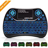 (Updated 2018, 7-Color Backlit) Wireless Mini Keyboard Touchpad Mouse Multimedia Keys, 2.4GHZ USB Handheld Rechargable Remote Keyboard PC,PAD,Smart TV,Google Android TV Box,HTPC,IPTV,PS4