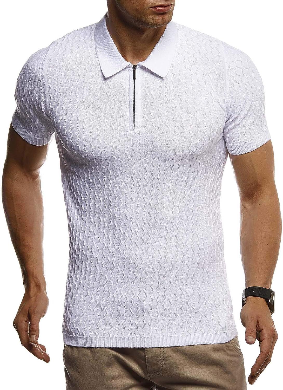 Polo da uomo estiva basic colore bianco e nero Leif Nelson LN7315 slim fit a maniche corte in maglia fine