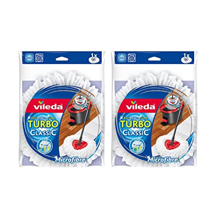 Vileda EasyWring and Clean Turbo Classic Microfibre Mop Refill Head, Pack of 2