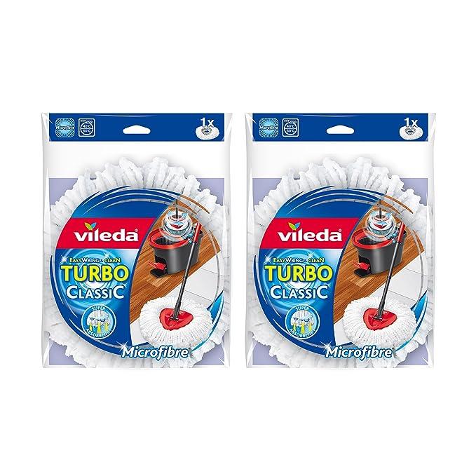Vileda EasyWring and Clean Turbo Classic - Cabezal de Recambio de fregona de Microfibra, Microfibra, Blanco, 2 Unidades: Amazon.es: Hogar