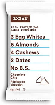 RXBAR Whole Food Protein Bar, Chocolate Chip, 12 Count, 52g
