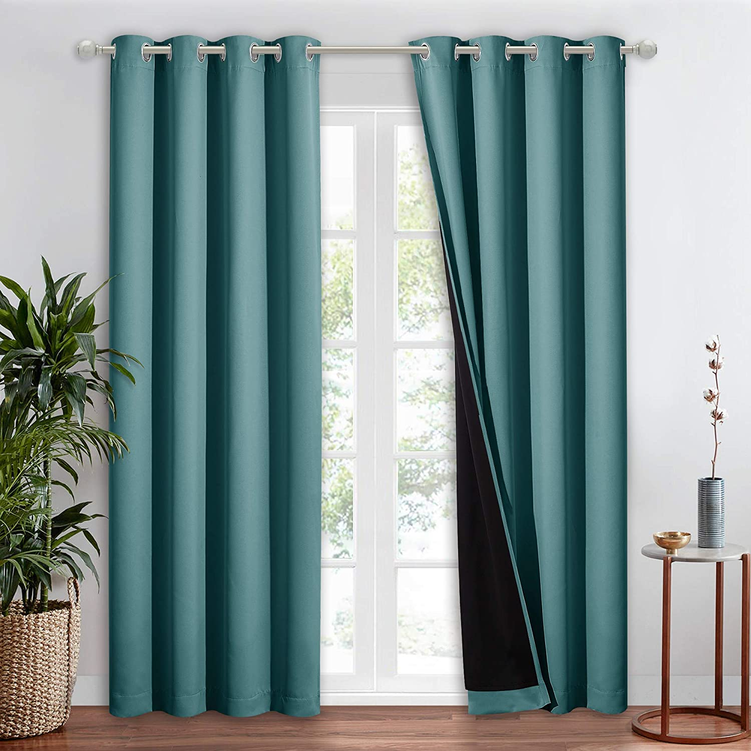 NICETOWN 100% Blackout Blind, Laundry Room Decor Window Treatment Curtains, Thermal Insulated Energy Smart Drape and Drapery for Villa, Hall and Studio, Sea Teal, 1 PC, 52 inches x 95 inches
