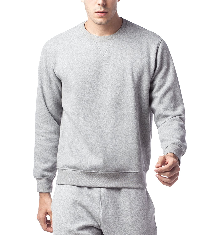 LAPASA Herren Sweatshirt Sweater Uni Rundhals-Ausschnitt Baumwolle MEHRWEG M021