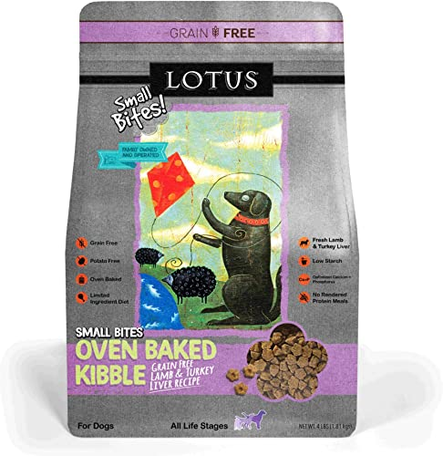 Lotus Oven-Baked Lamb Turkey Liver Small Bites Recipe Grain-Free Dry Dog Food 4 Pound