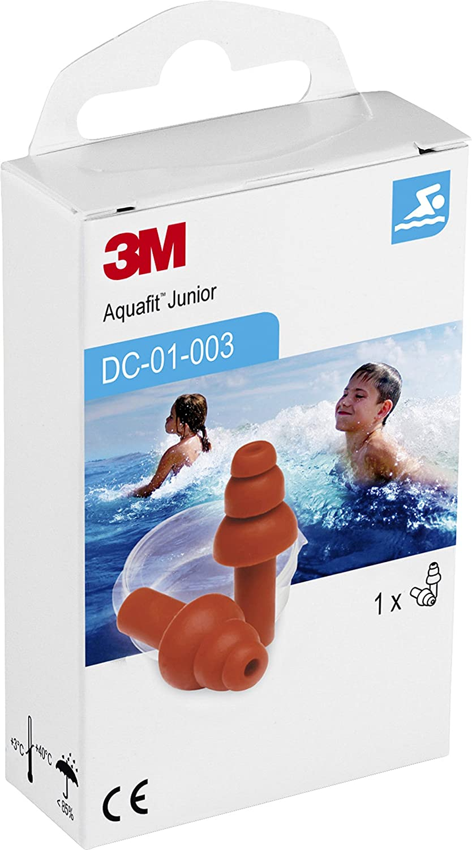 3M E-A-R AquaFit Junior Tapones para niños reutilizables especiales para la piscina, natación y deportes acuático (1 par/caja)