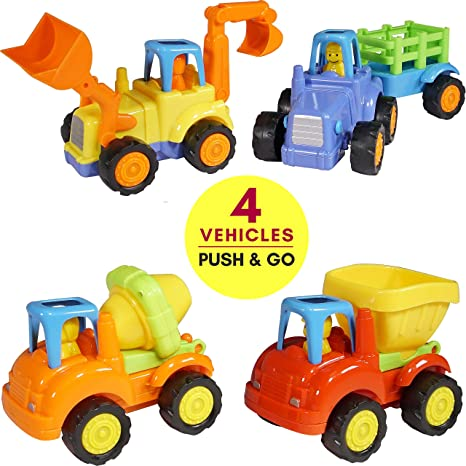 Friction Powered Cars Push and Go (4 Pack), Construction Vehicles Toys for  Toddlers Including Tractor, Bulldozer, Cement Mixer, Dump Truck, Car Truck