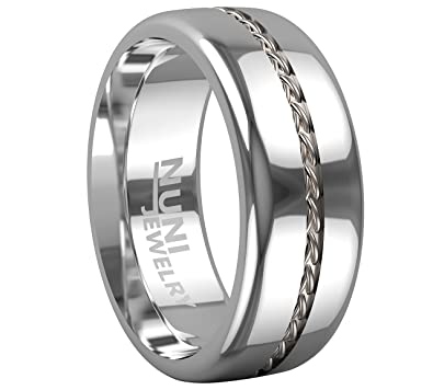 Tungsten Ring By Nuni Jewelry Elegant Wedding Band With Silver