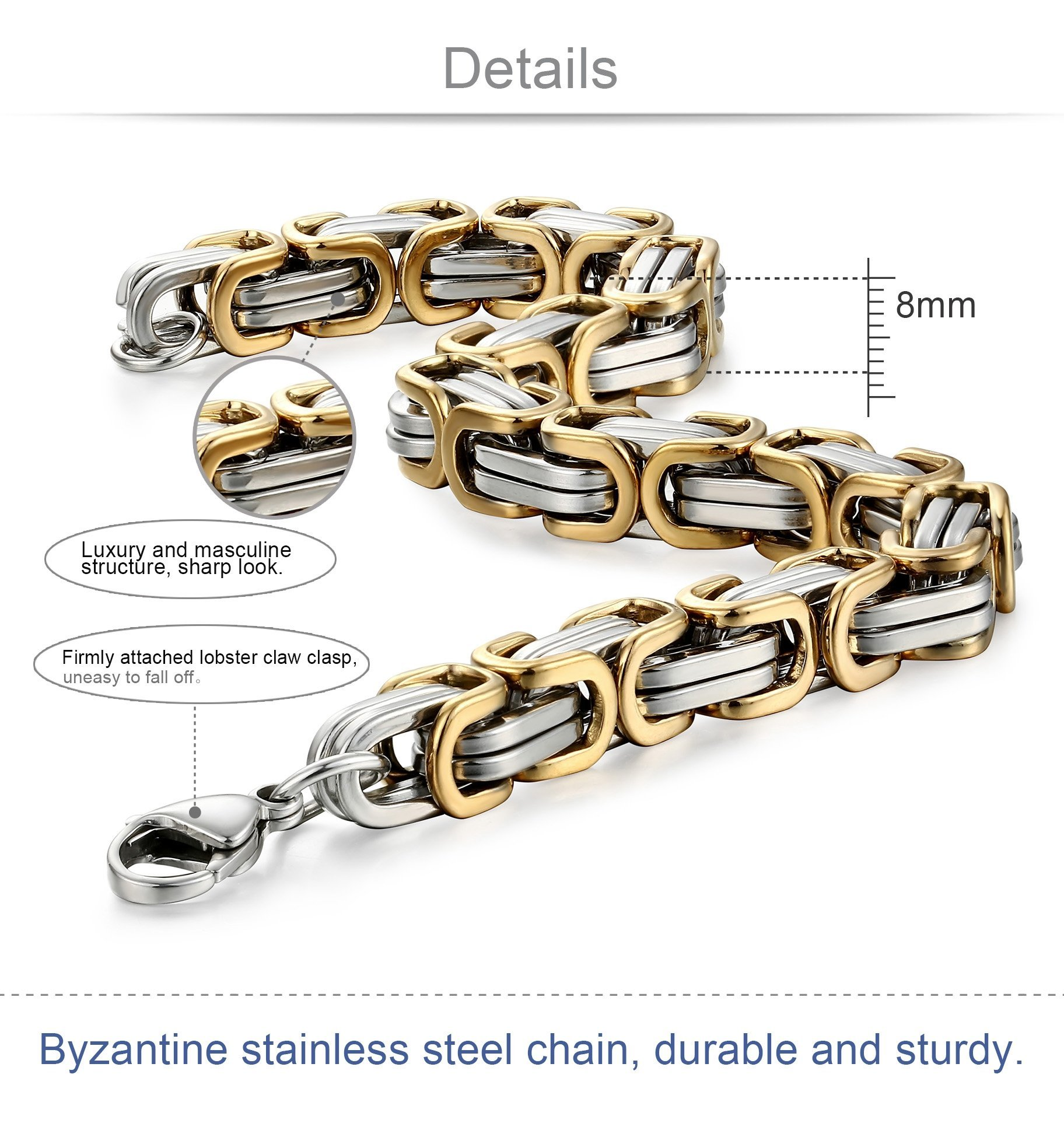 Jstyle Stainless Steel Male Chain Necklace Byzantine Bracelet for Men Jewelry Sets 8.5 Inch Bracelet