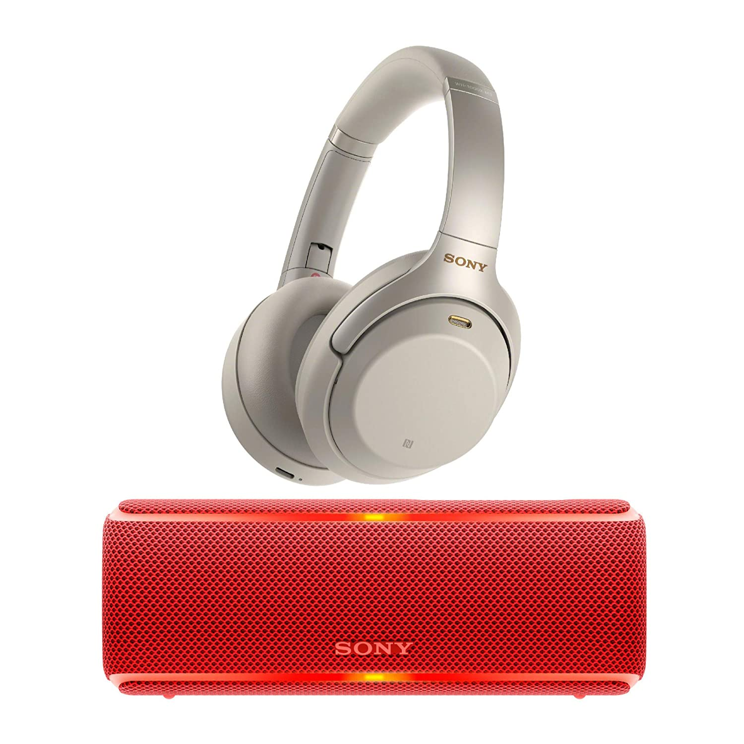 Sony WH1000XM3 Wireless Noise Canceling Over Ear Headphones (Silver) Portable Bluetooth Speaker