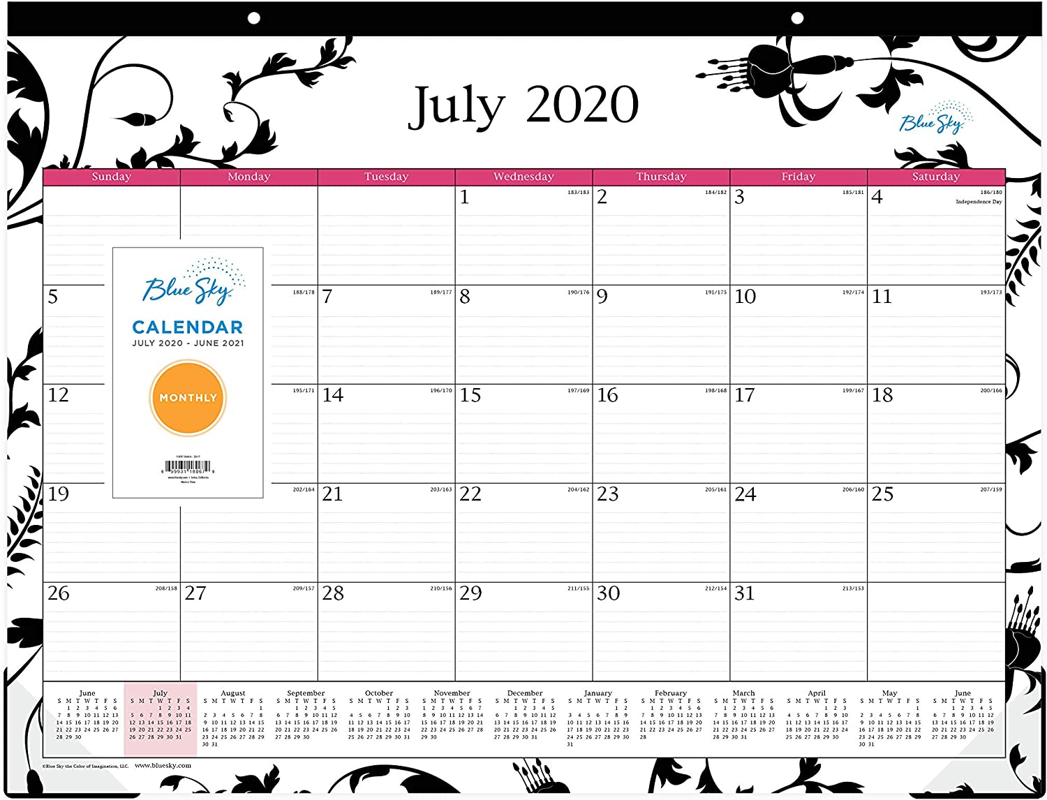 "Blue Sky 2020-2021 Academic Year Monthly Desk Pad Calendar, Two-Hole Punched, Ruled Blocks, 22"" x 17"", Analeis"