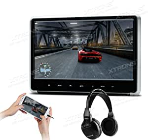XTRONS Silver 1PC 11.6 Inch HD Digital Touch Panel Car Auto Headrest Active DVD Player Kid Games Built-in HDMI Port 1PC Headphone Included