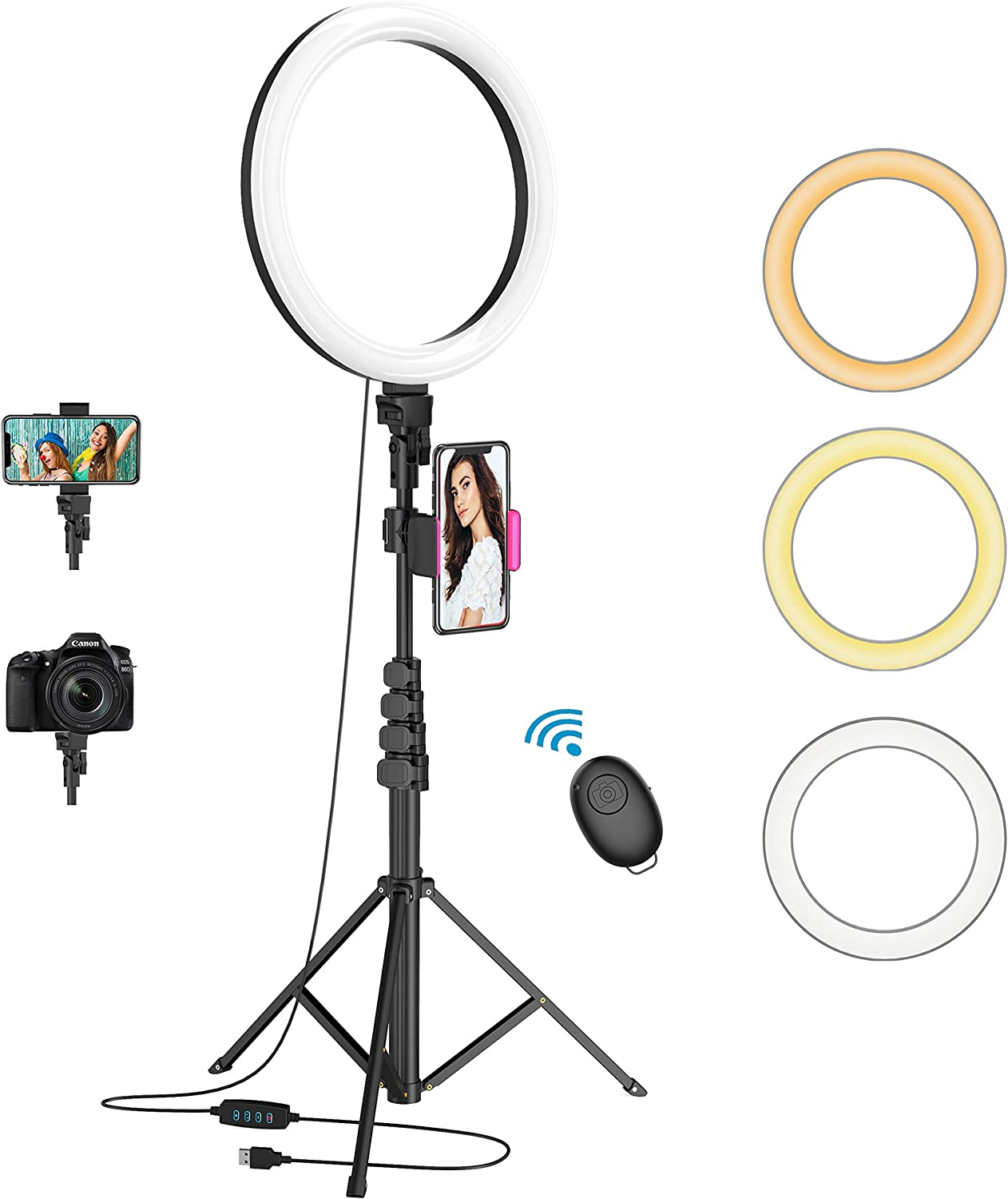 """Waulnpekq 12"""" Selfie Ring Light with 62"""" Adjustable Tripod Stand and Phone Holder $19.99 Coupon"""
