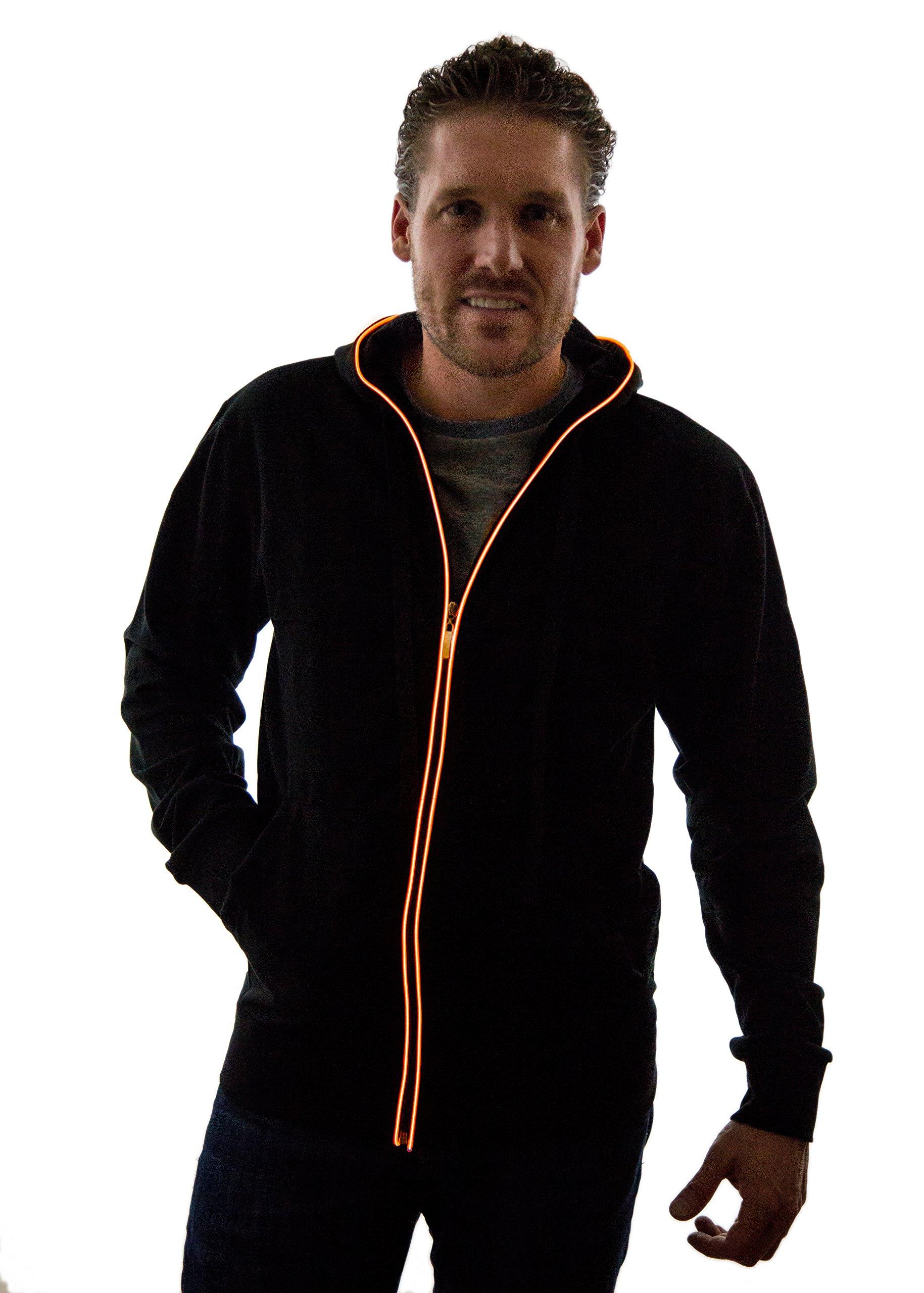 Neon Nightlife Light Up Hoodie Jacket Sweatshirt, Large, Orange by Neon Nightlife
