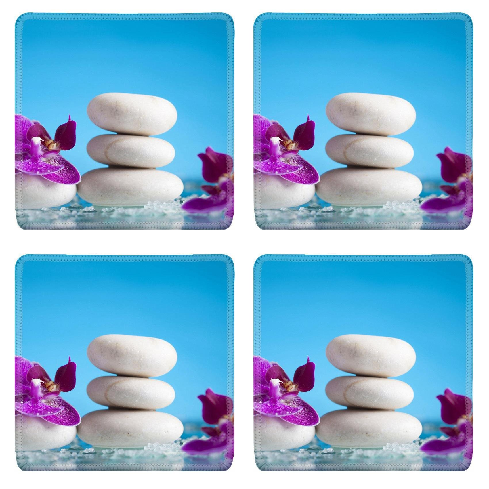 MSD Square Coasters Non-Slip Natural Rubber Desk Coasters design 36433401 Spa still life with pink orchid and white zen stone on blue background