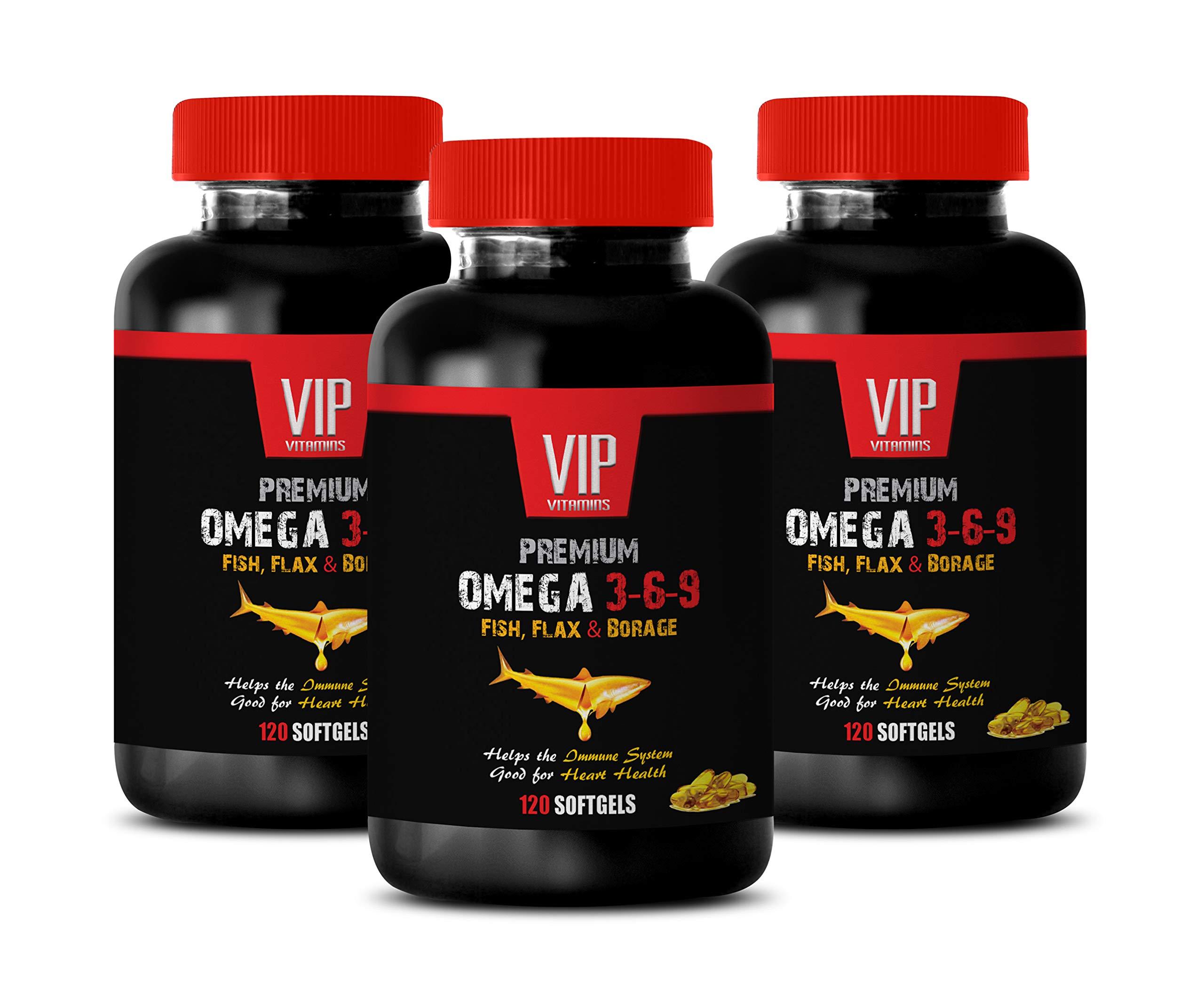 Immunity Booster Vitamins - Omega 3 6 9 Premium - Fish, Flax & Borage - 3-6-9 Omega Fish Oil - 3 Bottles 360 Softgels